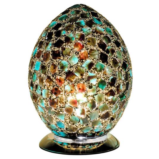 Dark Green Medium Egg Mosaic Table Lamp
