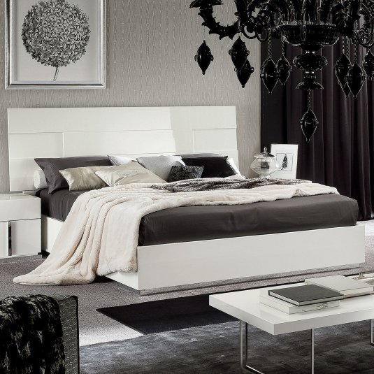 Torino White High Gloss Bed Frame Collection