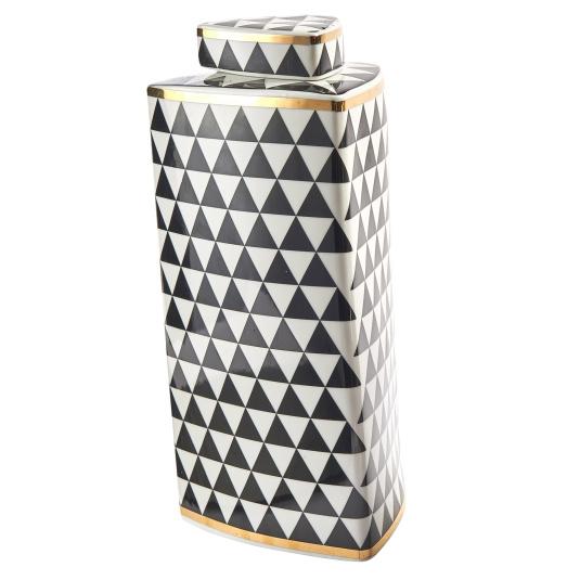 Large Tri Geometric Monochrome Jar