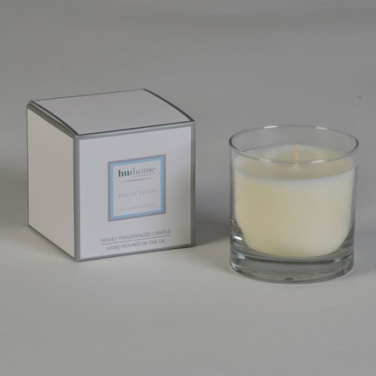 HU Home White Linen Candle