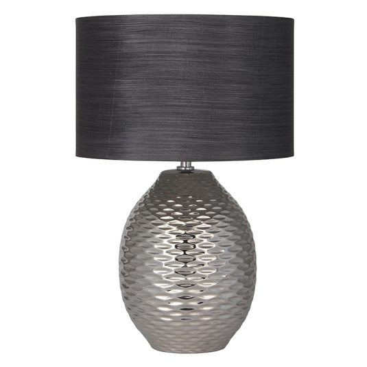 Alex Chrome Ceramic Table Lamp and Grey Shade