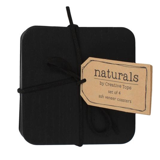 Naturals Black Wood Set of 4 Coasters