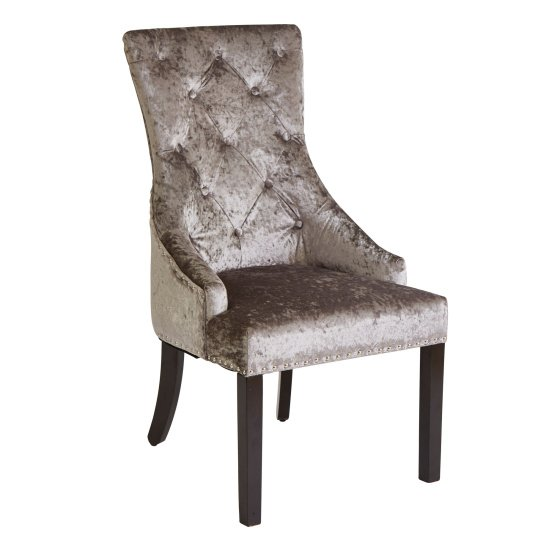 Louis Silver Fabric Dining Chair with Knocker