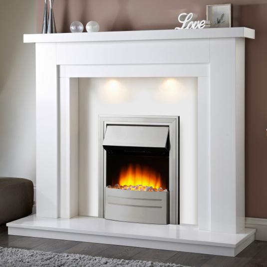 Bolero White Electric Fireplace Suite