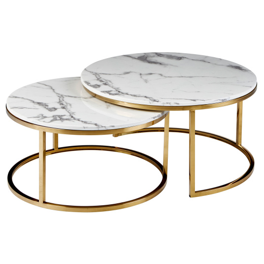 Savona Marble Effect and Gold Nest Of Tables