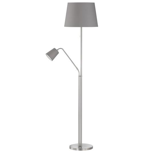 Savoy Matt Nickel Floor Lamp With Reading Arm