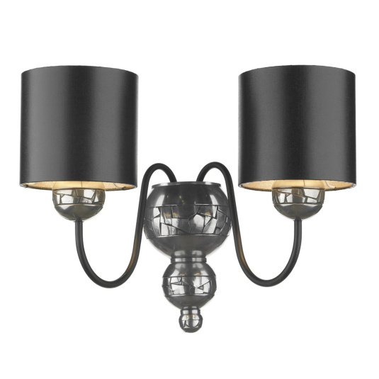 Garbo 2 Light Pewter Wall Light with Black Shades