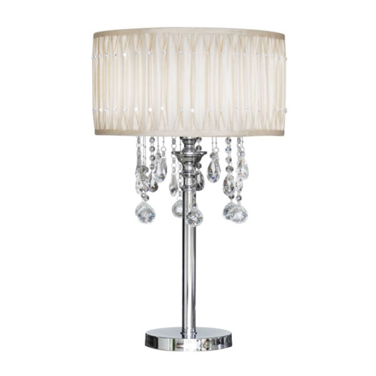 Versailles Chrome and Crystal Taupe Table Lamp and Shade