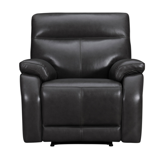 Lativo Anthracite Leather Electric Recliner Chair - Front | Housing Units