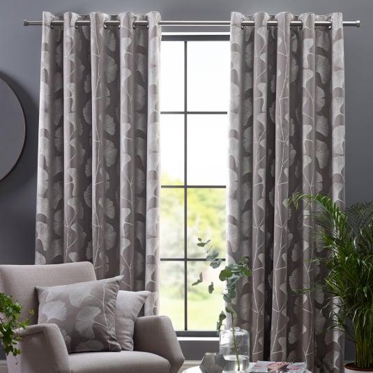 "Belfield Gingko Steeple Grey 66"" x 72"" Curtains"