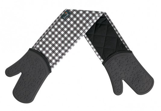 Zeal Gingham Double Oven Gloves in Grey