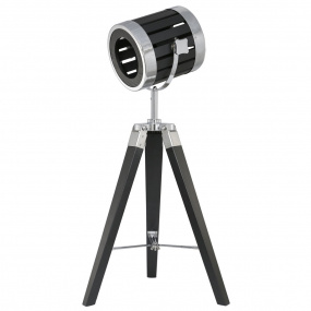 Theatre Tripod Table Lamp in Black Wood