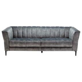 Vesper Light Grey Fabric 3 Seater Sofa - Front   Housing Units