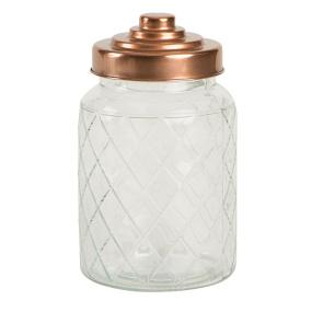 Copper Lid Medium Lattice Glass Storage Caddy
