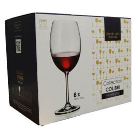 Bohemia Colibri Set of 6 Fine Rim Crystal Red Wine Glasses