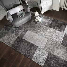 Manhattan Patchwork Black and Grey Rug Collection