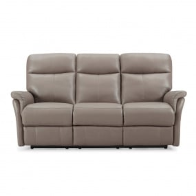 Hayward Electric Truffle Leather 3 Seater Recliner Sofa