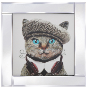 Blue Eyed Cat with Mirrored Frame