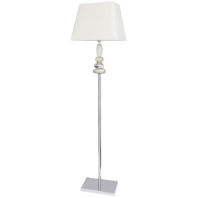 Folco White Chrome And Gold Floor Lamp And Shade