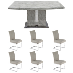 Montero 160cm White Marble Dining Table With 6 Light Grey Carlo Chairs | Housing Units