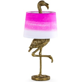 Antique Gold Flamingo Table Lamp and Shade