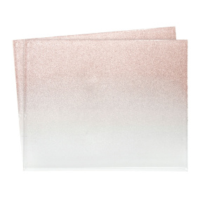 Set of 2 Mirrored Rose Gold Glitter Placemats