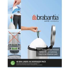 Brabantia Flat Bag Dispenser 40 Bin Liners - Size G