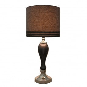Smoked Grey Pearl Lustre Table Lamp and Shade