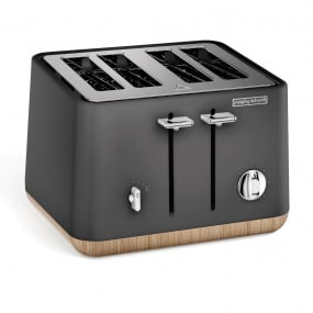 Morphy Richards Aspect Titanium with Wood Trim Effect 4 Slice Toaster