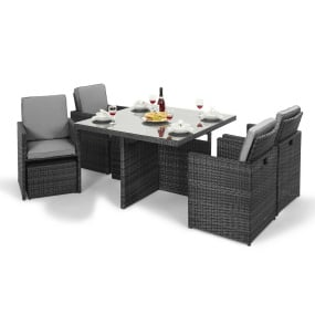 Maze Rattan Lagos Grey Cube Garden Dining Set - With Footstool Stowed