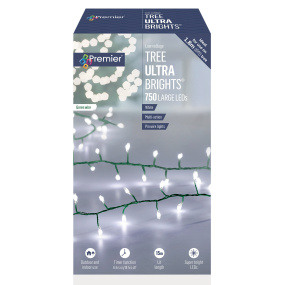 750 Multi Action White Ultrabrights LED Christmas Lights | Housing Units