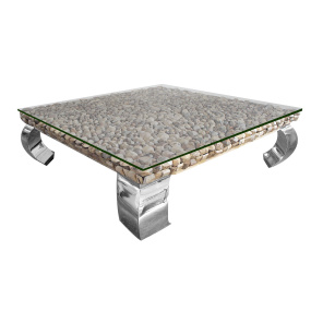 Bayport Glass Top Driftwood and Chrome Coffee Table