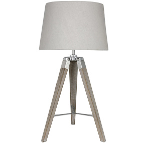 Wooden Grey Tripod Table Lamp Base