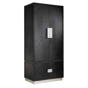 Remington Black Oak and Silver 2 Door Wardrobe | Bedrooms
