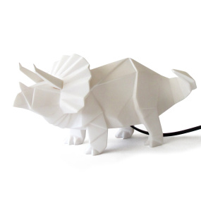 White Triceratops Dinosaur Origami Table Lamp