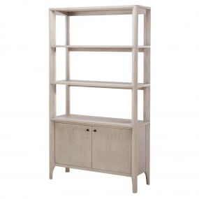 Alicante Grey Oak Open Bookcase - Angled | Housing Units