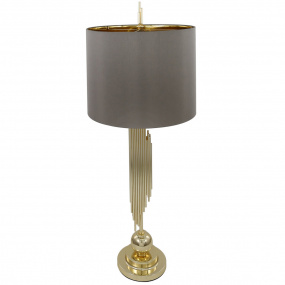 Tokyo Gold Sculptured Table Lamp and Taupe Shade