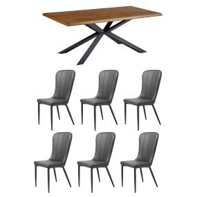 Bronx 200cm Dining Table & 6 Dark Grey Mason Chairs