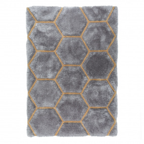 Verge Honeycomb Grey and Ochre 80cm x 150cm Rug