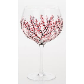 Hand Decorated Red Blossom Gin Coppa Glass