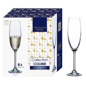 Bohemia Colibri Set of 6 Fine Rim Crystal Champagne Flutes