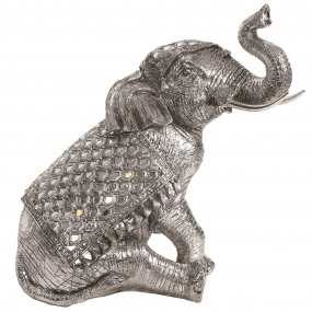 Silver Sitting Elephant Ornament