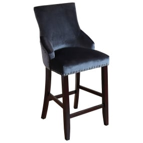 Benito Grey Velvet Bar Stool