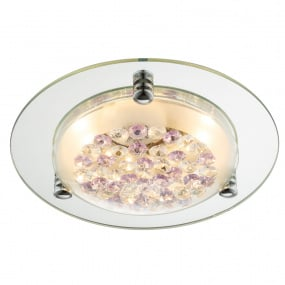 Froo Flush Purple and Clear Crystal LED Ceiling Light