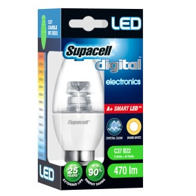 Supacell BC B22 5W Candle LED Clear Light Bulb
