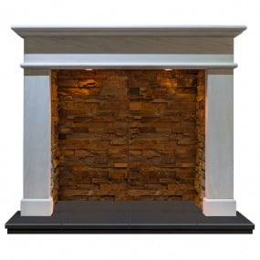 Calia Limestone Fire Surround with Rustic Chamber