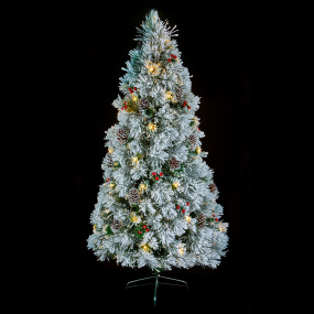 6ft Flocked Fibre Optic Christmas Tree with Pine Cones
