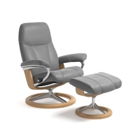 Stressless Medium Consul Chair & Footstool with Signature Base in Batick Dove Grey & Oak - Angled | Housing Units
