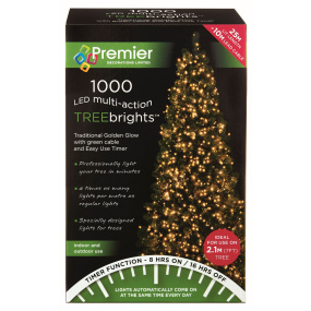 1000 Traditional Gold Treebrights Multi Action LED Lights with Green Cable and Timer