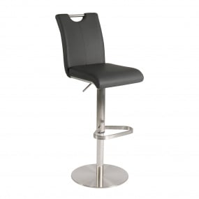 Edmonton Grey PU Upholstered Height Adjustable Bar Stool With Handle - Angled